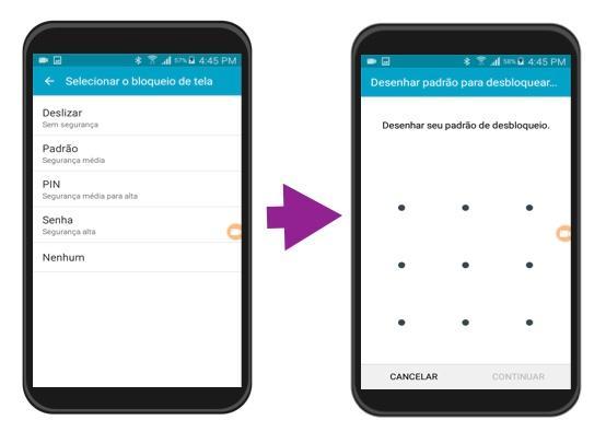 Exemplo dos passos 4 e 5 para bloquear uma tela no Android