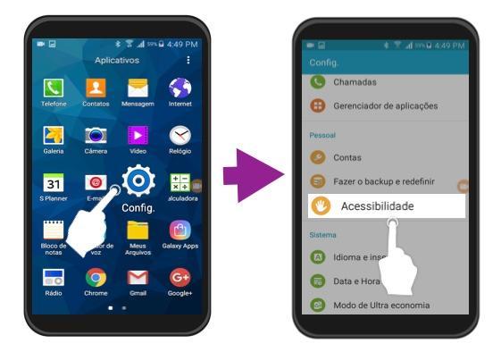 Exemplo de como acessar o menu de Acessibilidade no Android.