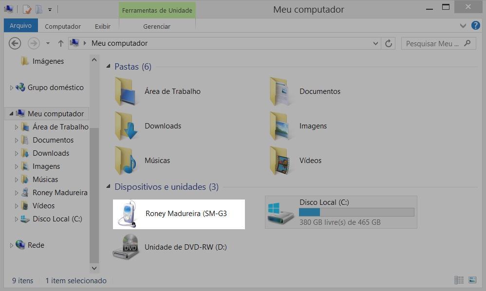 Exemplo dos passos para transferir arquivos para um computador.