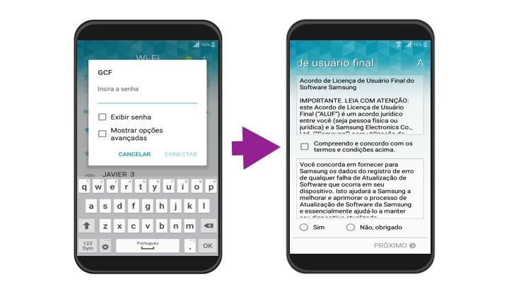 Passos 2 e 3 de como fazer a configuração Inicial do Android.