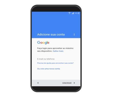 Como entrar ou criar uma nova conta do Google.