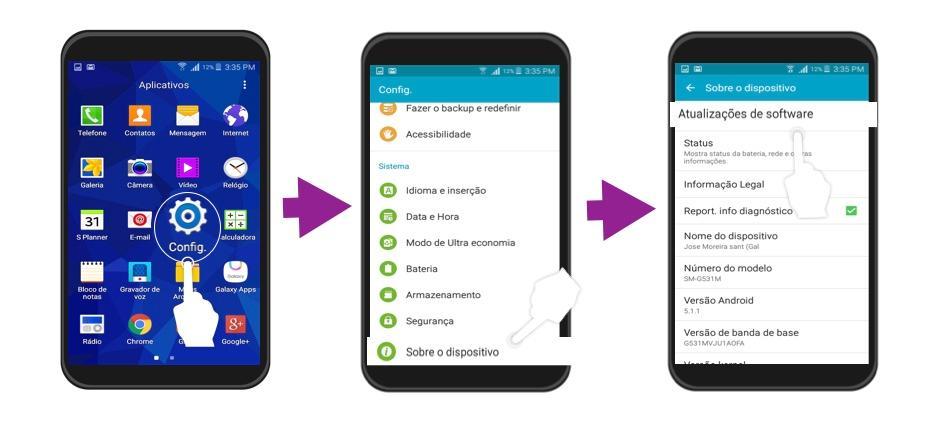 Etapas para a atualização do Android por Wi-fi.