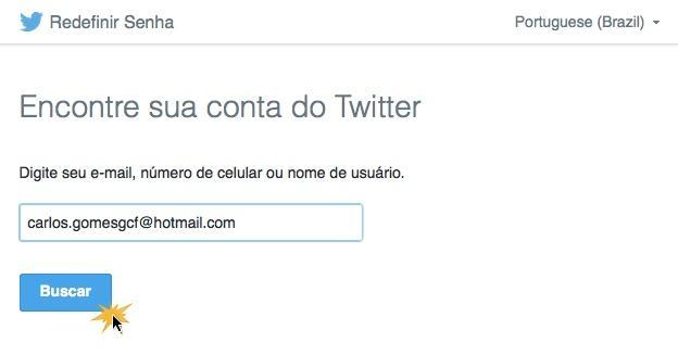 Escreva seu email para encontrar sua conta no Twitter