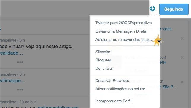 Adicione ou remova outros usuários de suas listas.