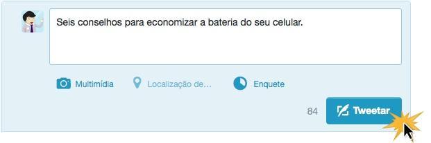 Escreva a mensagem e clique em Twittear.