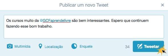 Escreva o tweet com a menção da conta e publique.