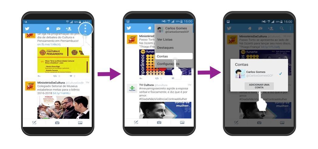 Clique em Adicionar uma conta para ver vários usuários do seu celular.