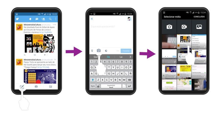 Você pode fazer o upload das imagens que você armazenou no seu celular.