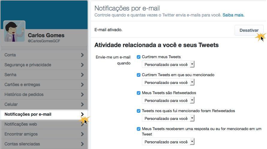 Você pode desativar todas as notificações por email.