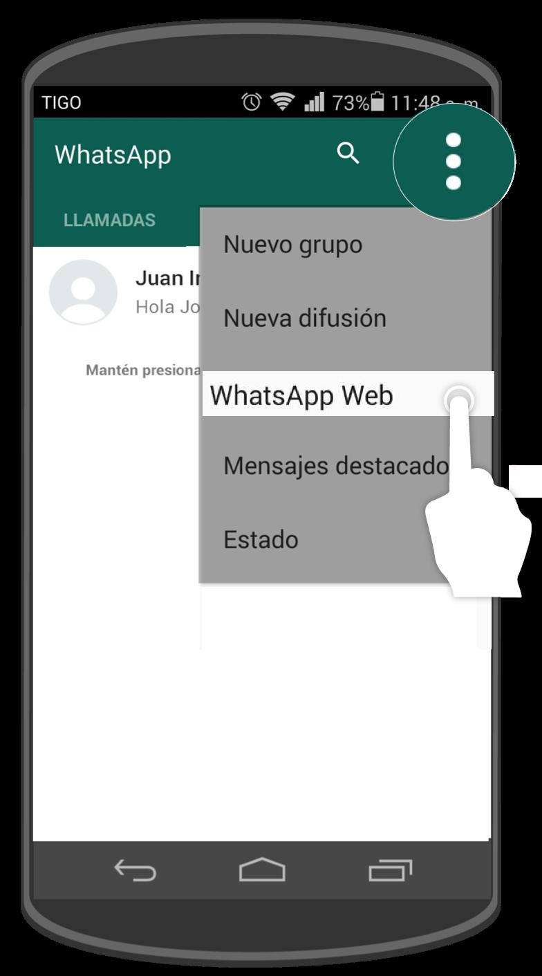 Pulsa sobre el botón Menú y allí selecciona WhatsApp Web.