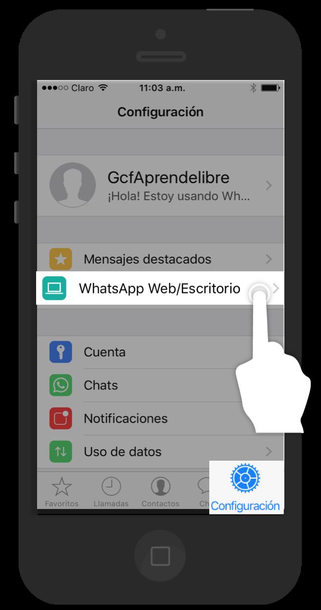 Pulsa el comando Configuración en tu celular y luego selecciona la opción WhatsApp web/Escritorio.