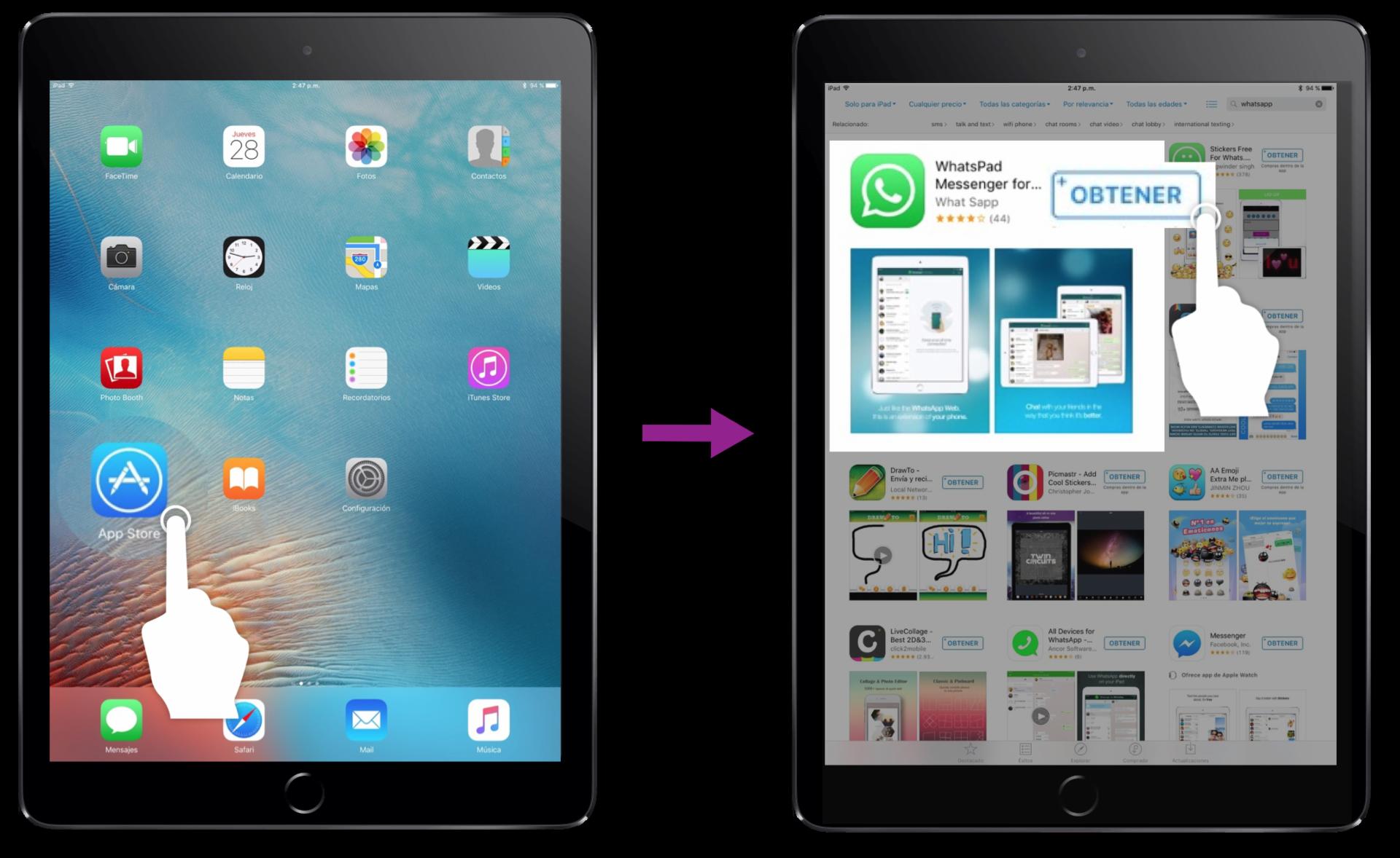 En la App Store y allí busca la aplicación Whatspad.