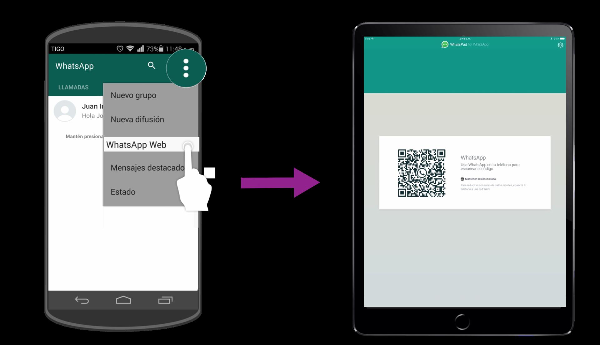 Con tu celular escanea el código QR que te aparece en la pantalla de tu iPad