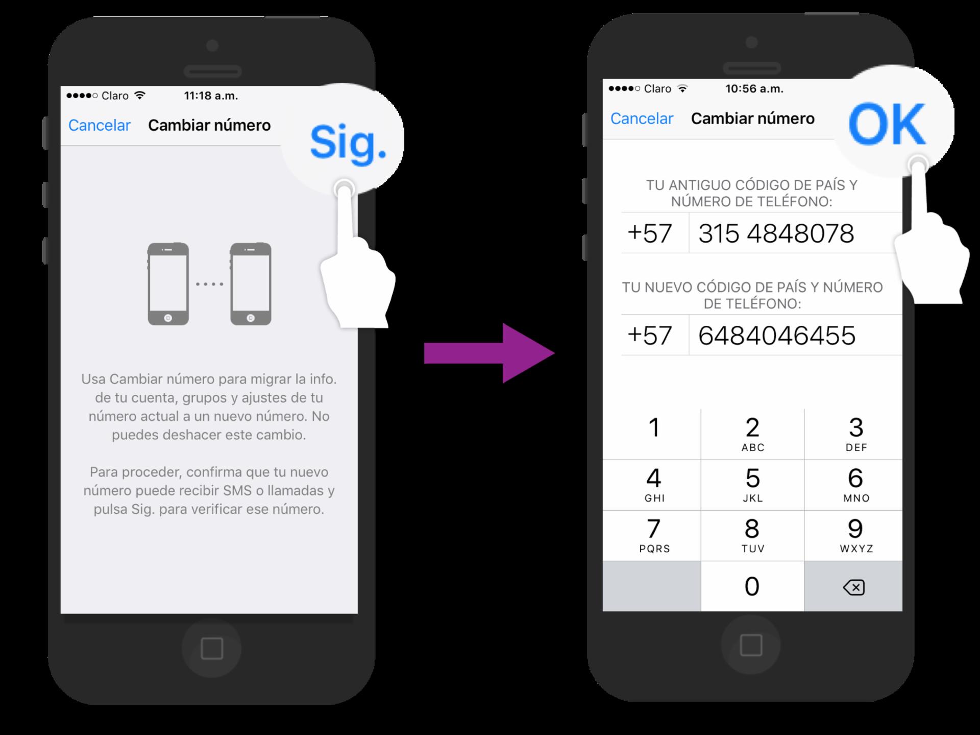 En la primera casilla escribe el número de teléfono actual y en la segunda el nuevo número.