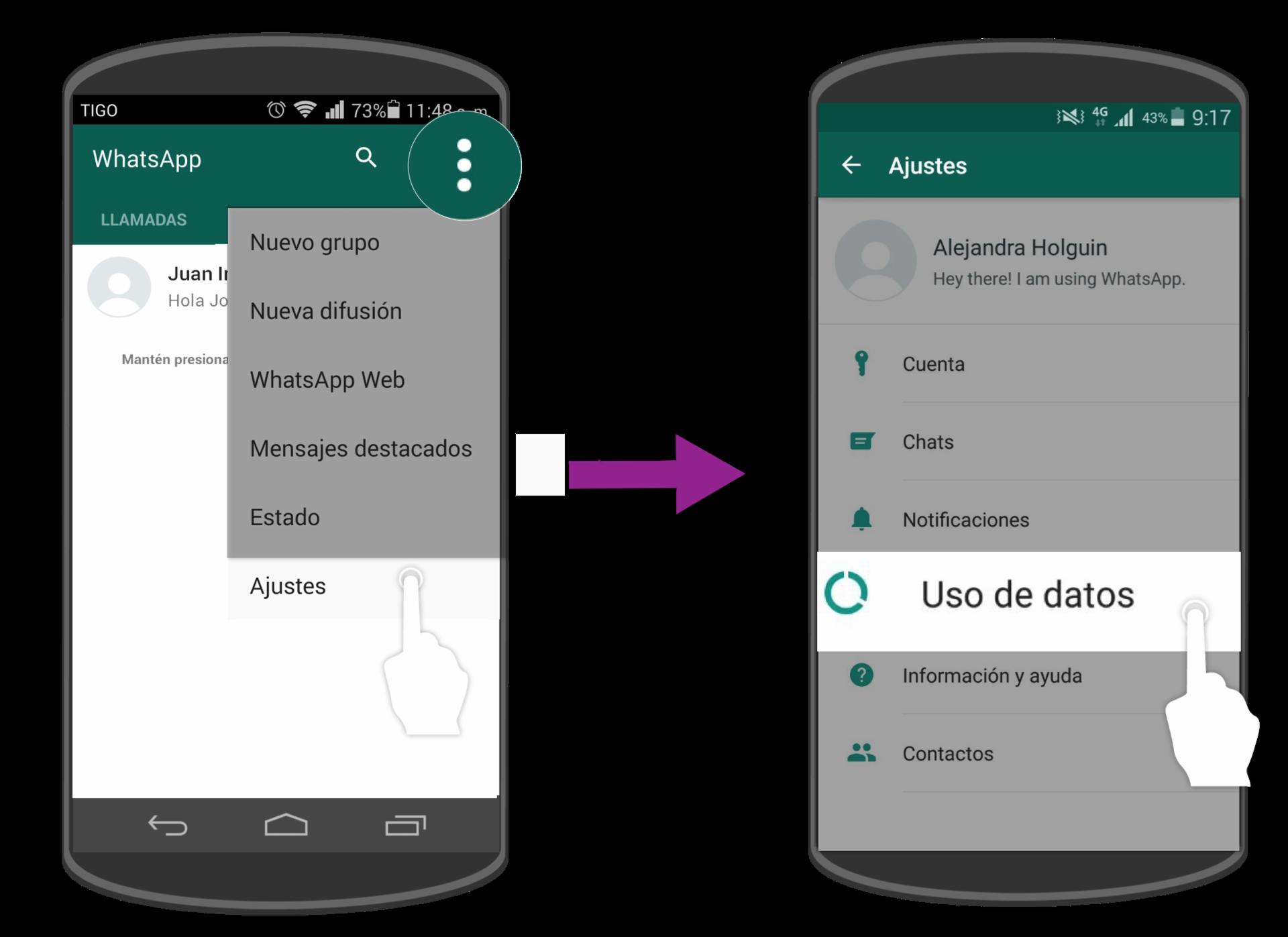 Allí selecciona la opción Ajustes y pulsa sobre el botón Uso de datos.