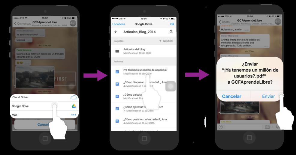 Elige una plataforma donde tengas el archivo, búscalo y pulsa en Enviar.