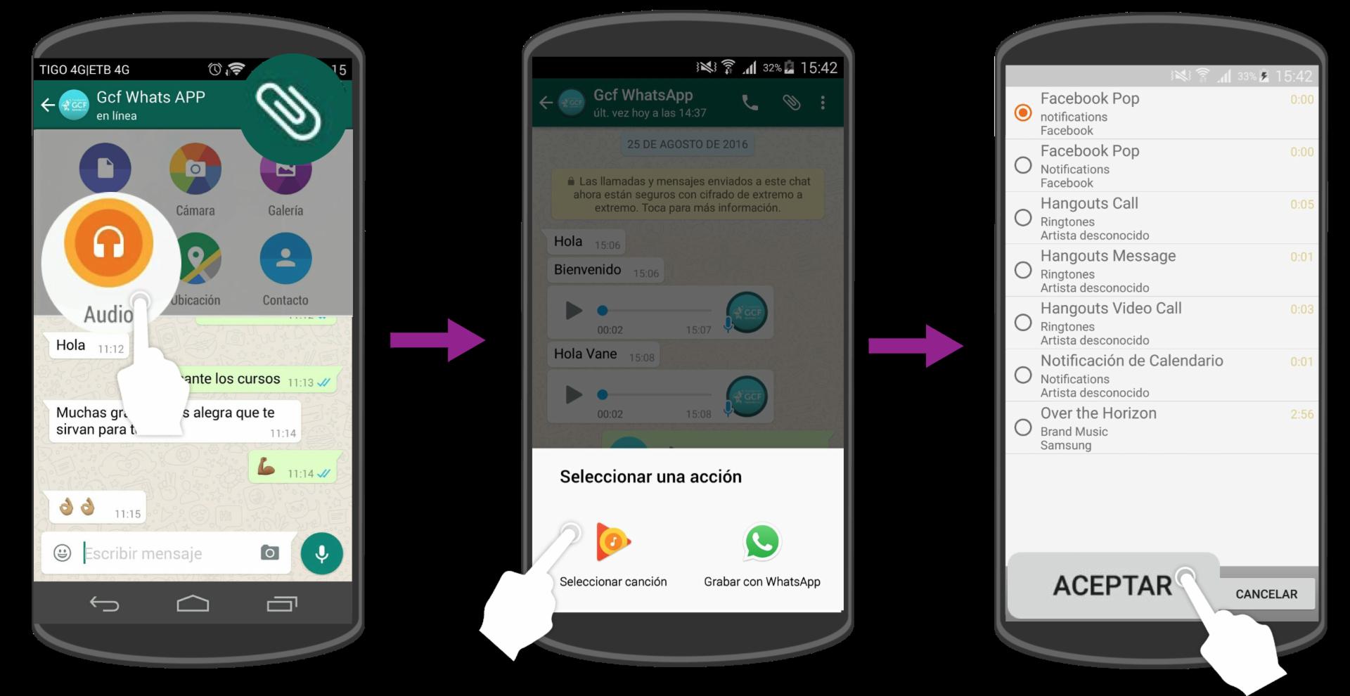 Elige el audio que deseas enviar y pulsa en Aceptar.