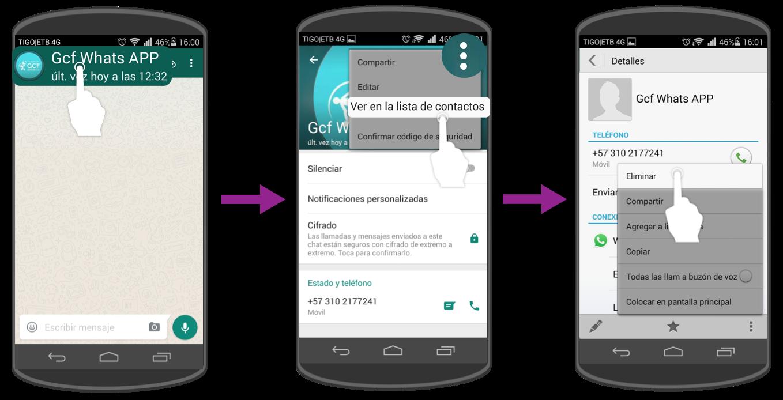 Abre el contacto con la aplicación Contactos de tu celular y elimínalo desde allí.