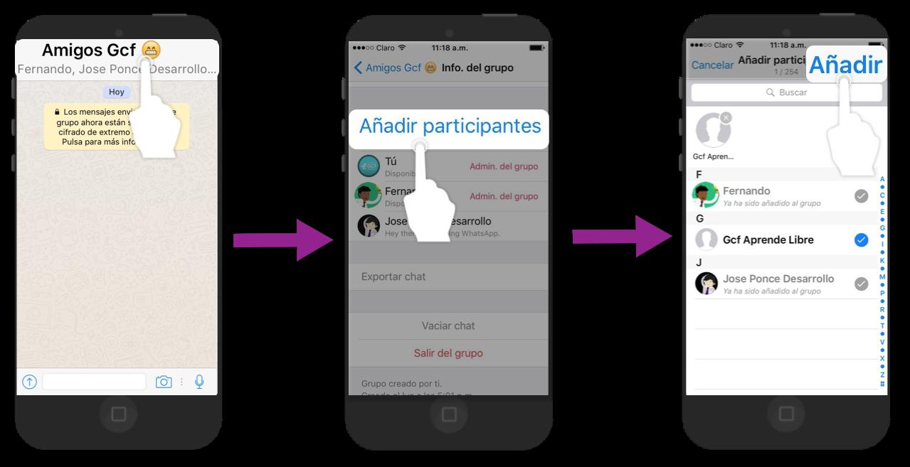 Abre el chat del grupo, accede a su información y pulsa en Agregar participantes.