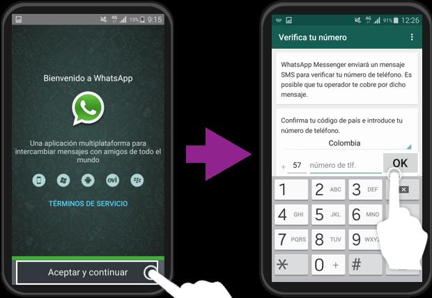 Imagen ejemplo de los pasos 2 y 3 de cómo crear una cuenta en WhatsApp.