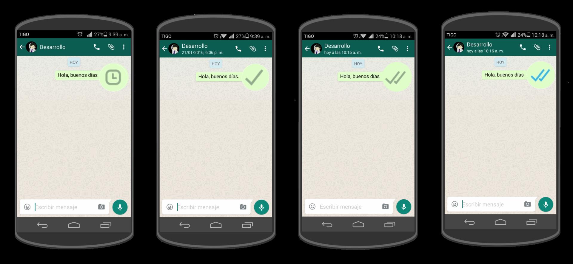 Las diferentes notificaciones que puedes observar al enviar un mensaje.