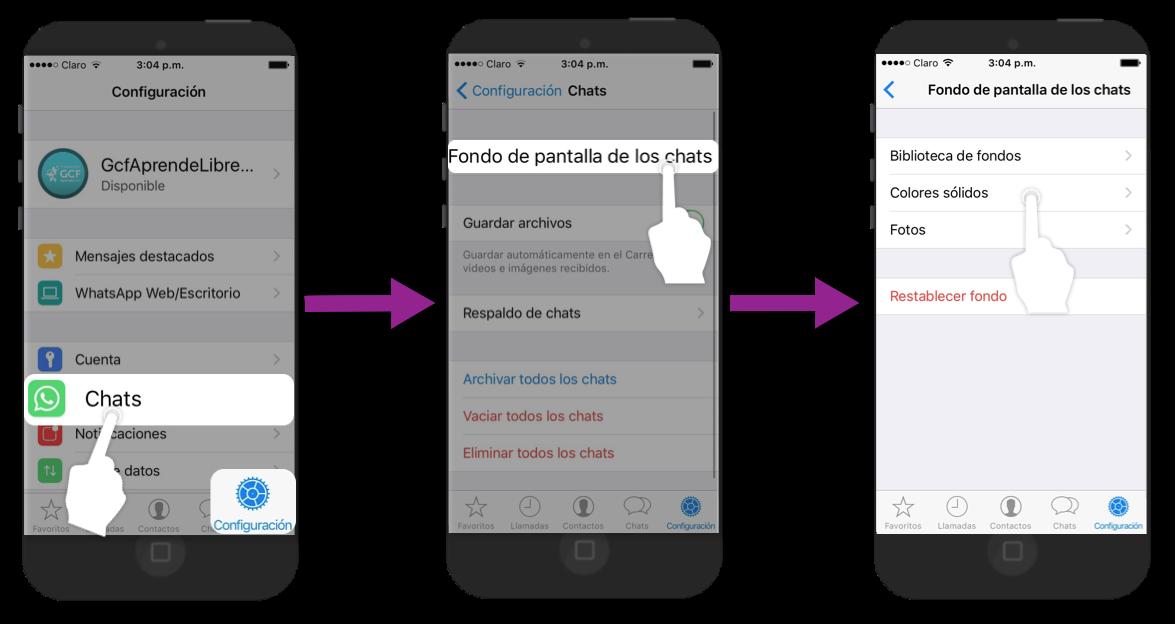 Desde Configuración, pulsa chats y Fondo de pantallas para elegir una nueva imagen.