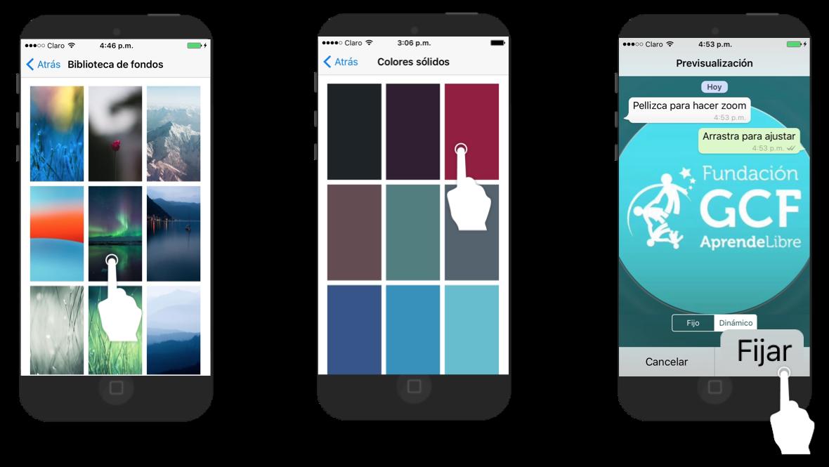 Ejemplo de la interfaz de la galería de fotos de tu celular, colores sólidos y galería de WhatsApp.