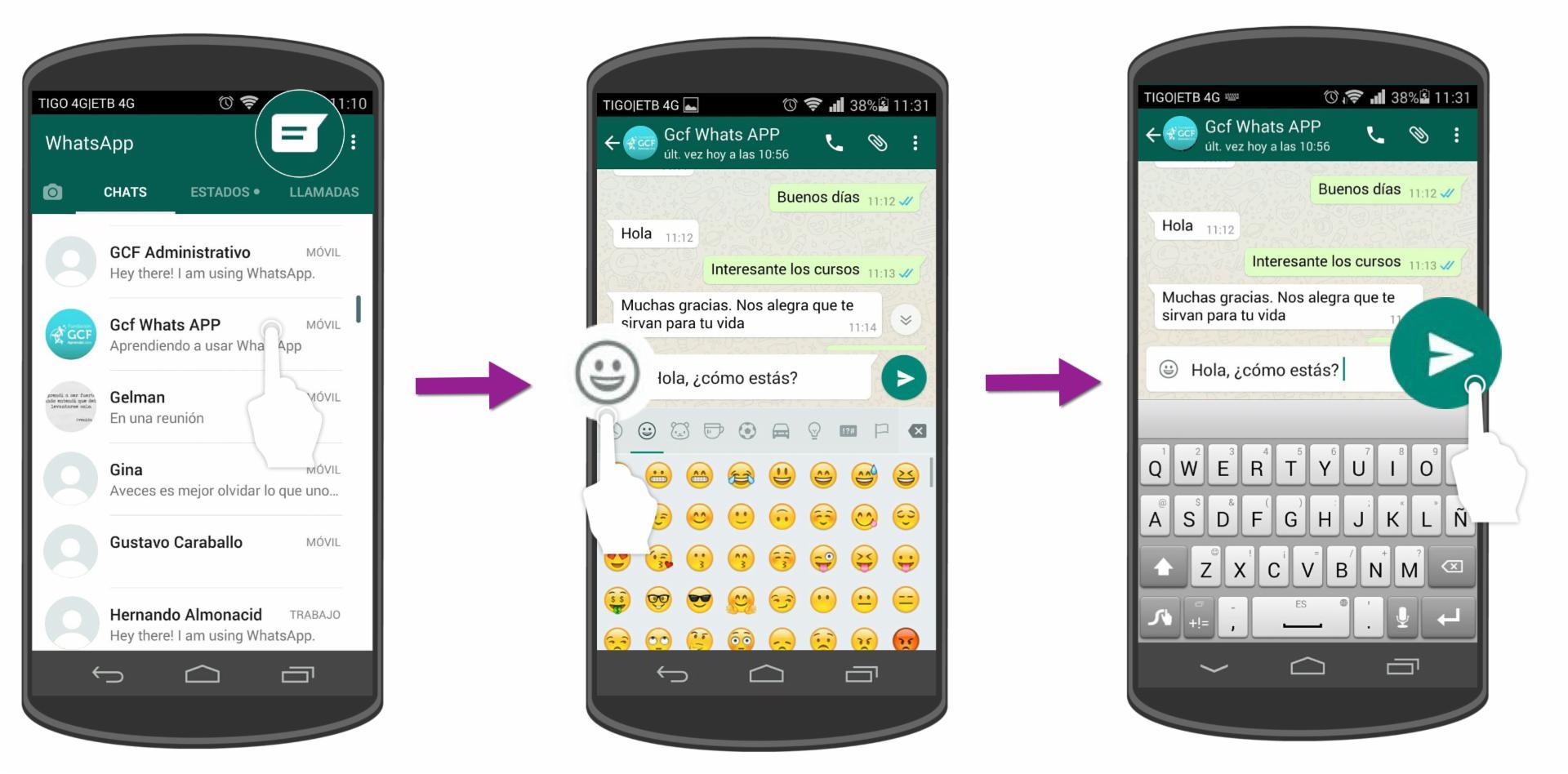 Abre una nueva ventana de chat, escribe su contenido y pulsa la flecha para enviarlo.