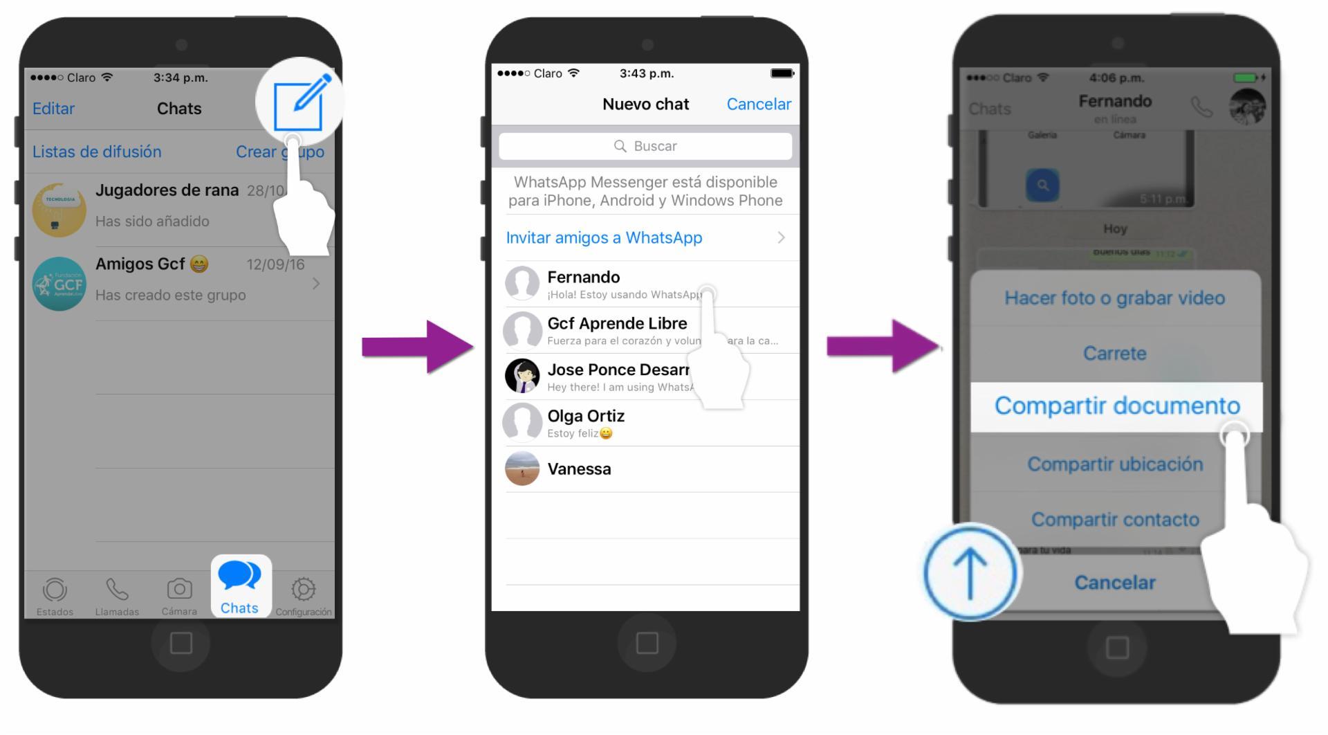 Presiona sobre el botón Compartir y pulsa Compartir documento.