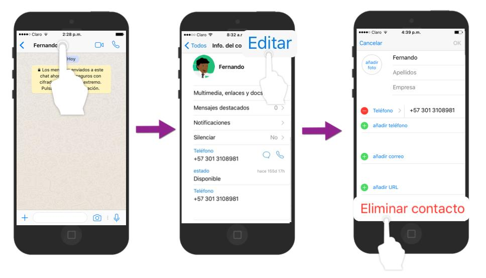 En la aplicación Contactos de tu iPhone, ve al final y pulsa en Eliminar Contacto.