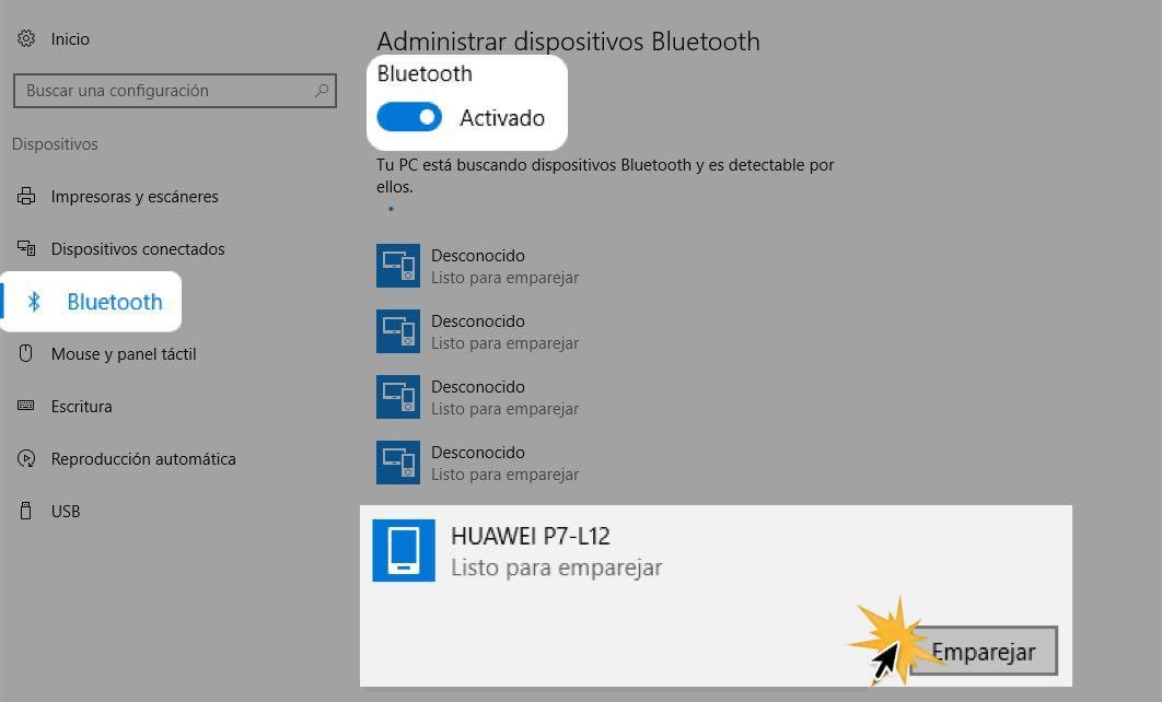 Elige un dispositivo y haz clic en Emparejar.
