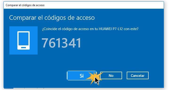 Verifica el código y haz clic en Sí.