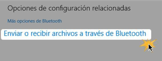 Haz clic en Enviar o recibir archivos a través de Bluetooth.