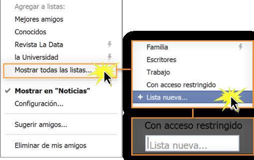 Las listas inteligentes las creó Facebook usando la información que agregaste