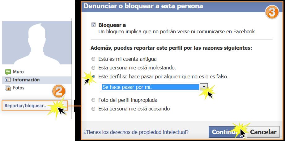 Cuadro de diálogo para reportar o denunciar perfiles de Facebook.