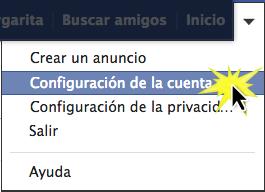 Haz clic el botón Configuración de la cuenta del menú desplegable.