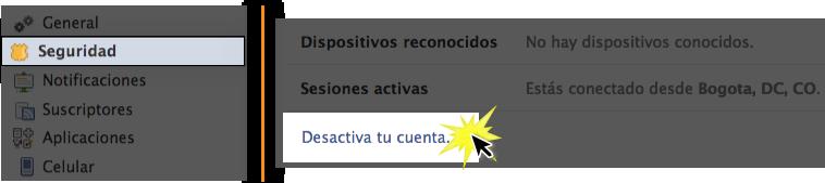Busca el botón Desactiva tu cuenta y haz clic en él.