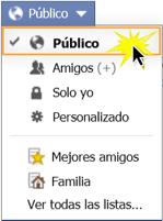 Haz clic en el botón selector de público.