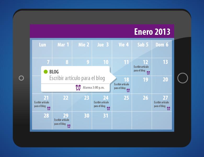 Calendario de publicaciones del blog.
