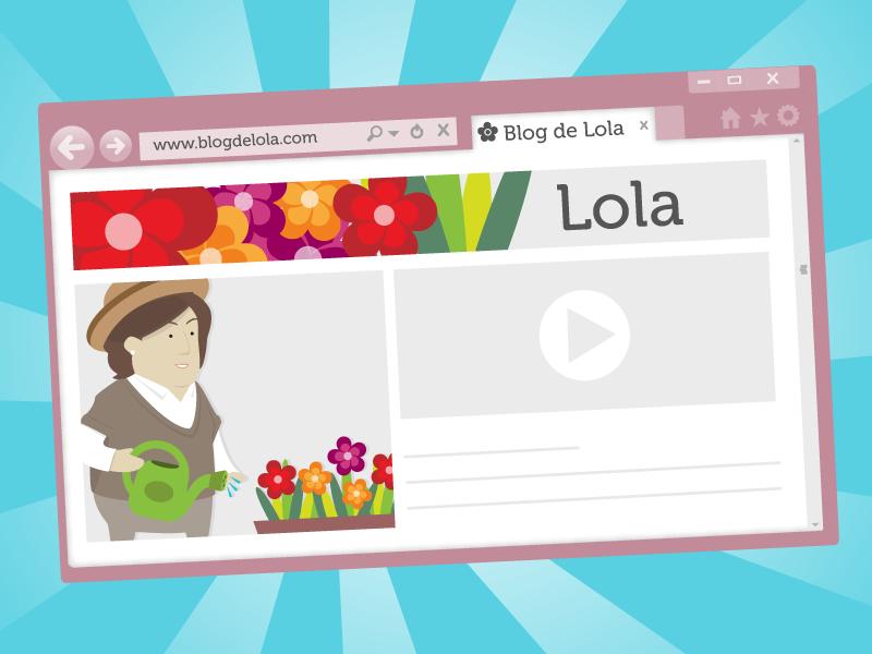 Ejemplo de la interfaz de un blog. El blog de Lola.
