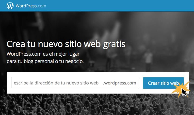 Haz clic en Crear sitio web.