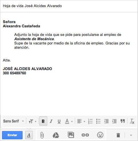 Ejemplo redacción correo y ubicación barra de tareas