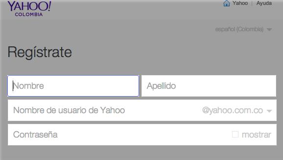 Primeros pasos de registro en Yahoo!