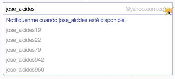 Opciones sobre nombre de usuario en Yahoo!