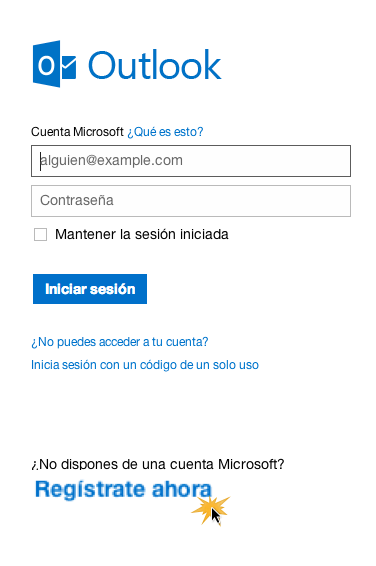 Registro en Outlook
