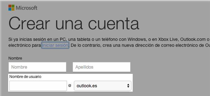 Espacios Nombre, Apellidos, Nombre de usuario en Outlook