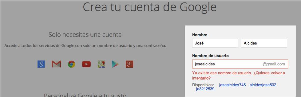 Nombre, apellido y nombre de usuario en Gmail