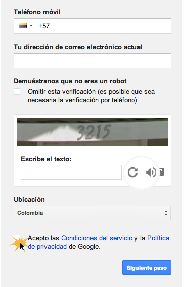 Captcha y datos de seguridad