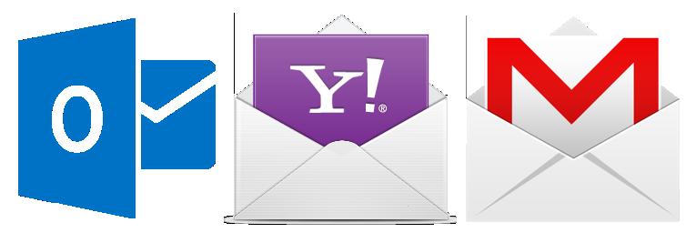 Logotipo dos principais fornecedores de e-mail.