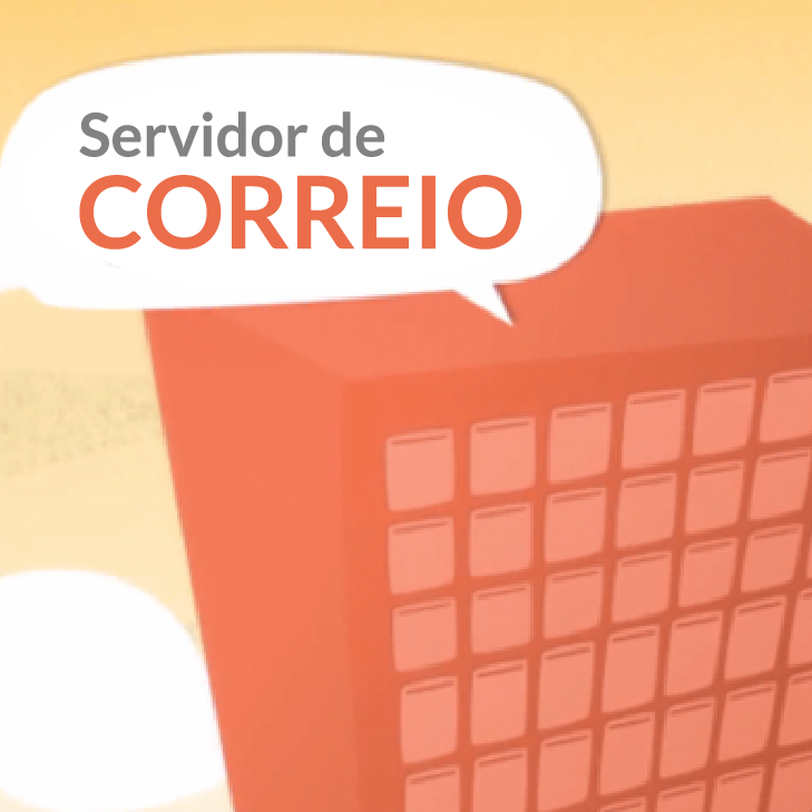 Ilustração de um edifício na nuvem do Internet que representa um servidor de correio.
